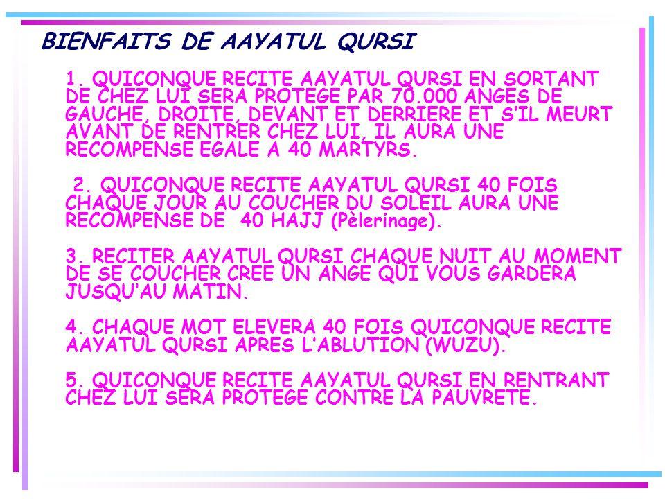 BIENFAITS DE AAYATUL QURSI 1