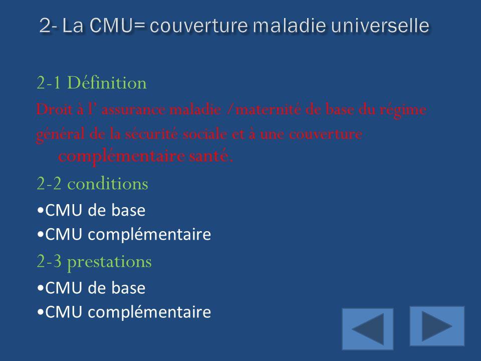 2- La CMU= couverture maladie universelle
