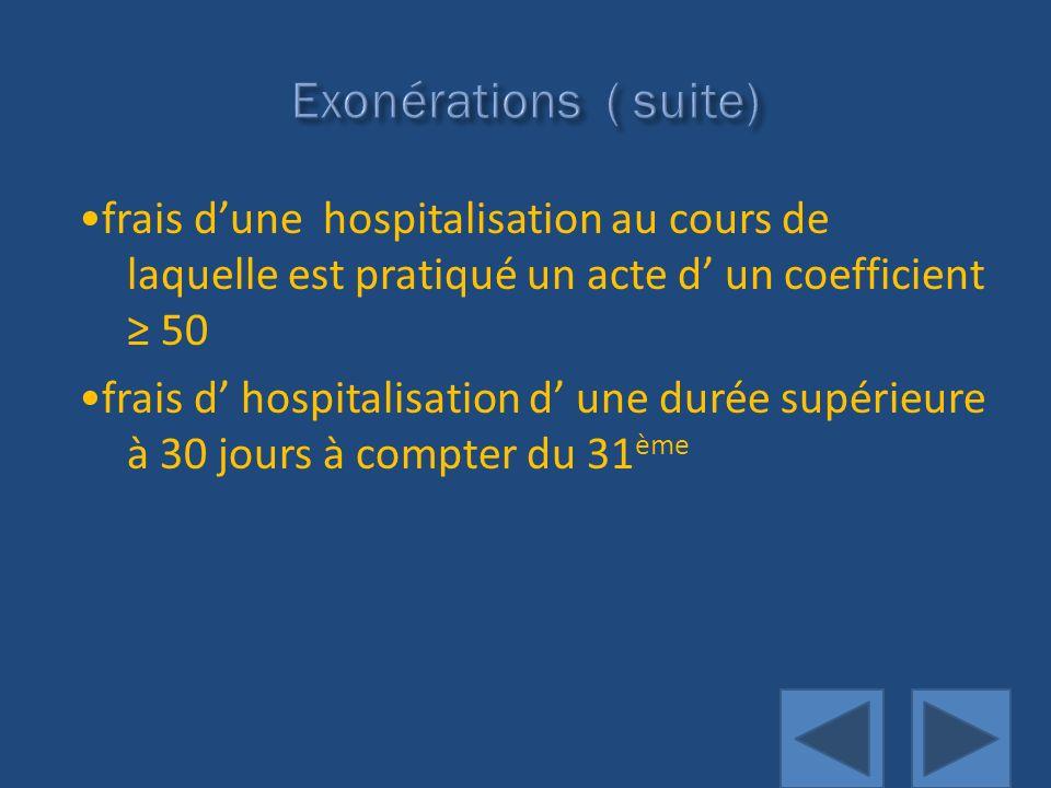 Exonérations ( suite)•frais d'une hospitalisation au cours de laquelle est pratiqué un acte d' un coefficient ≥ 50.