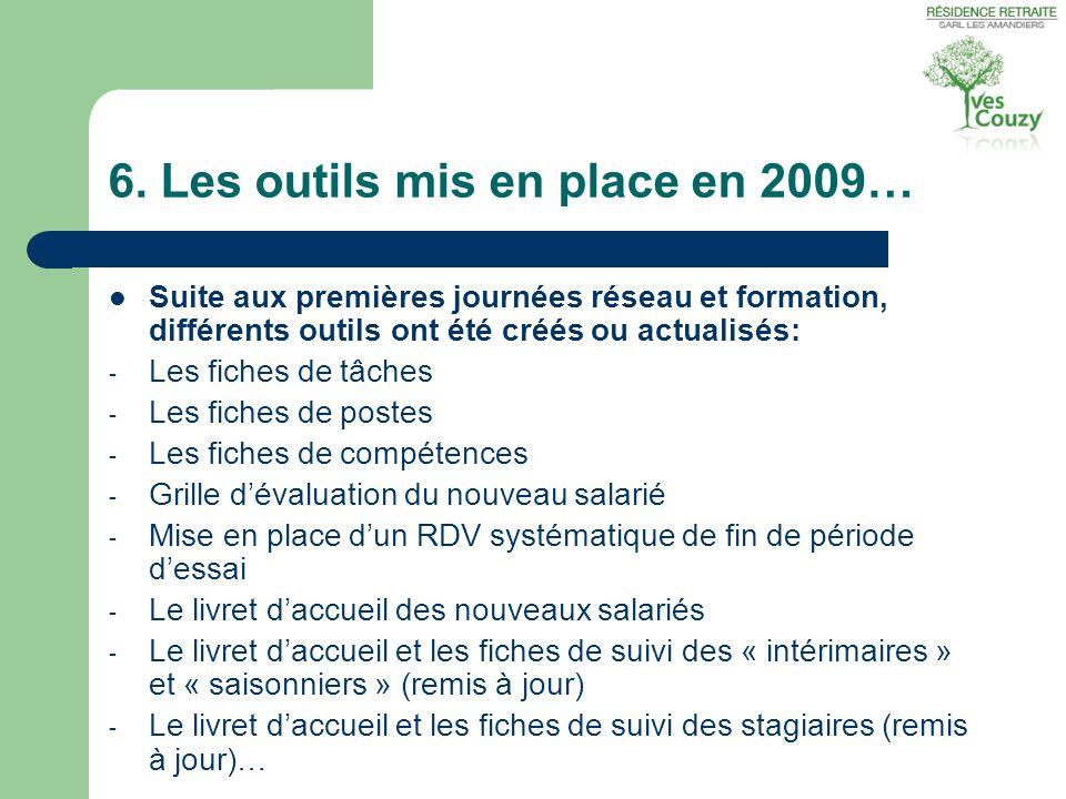 6. Les outils mis en place en 2009…