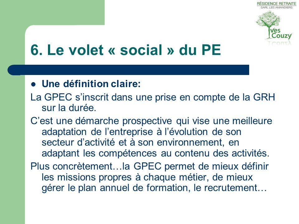 6. Le volet « social » du PE Une définition claire: