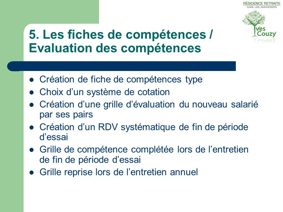 5. Les fiches de compétences / Evaluation des compétences
