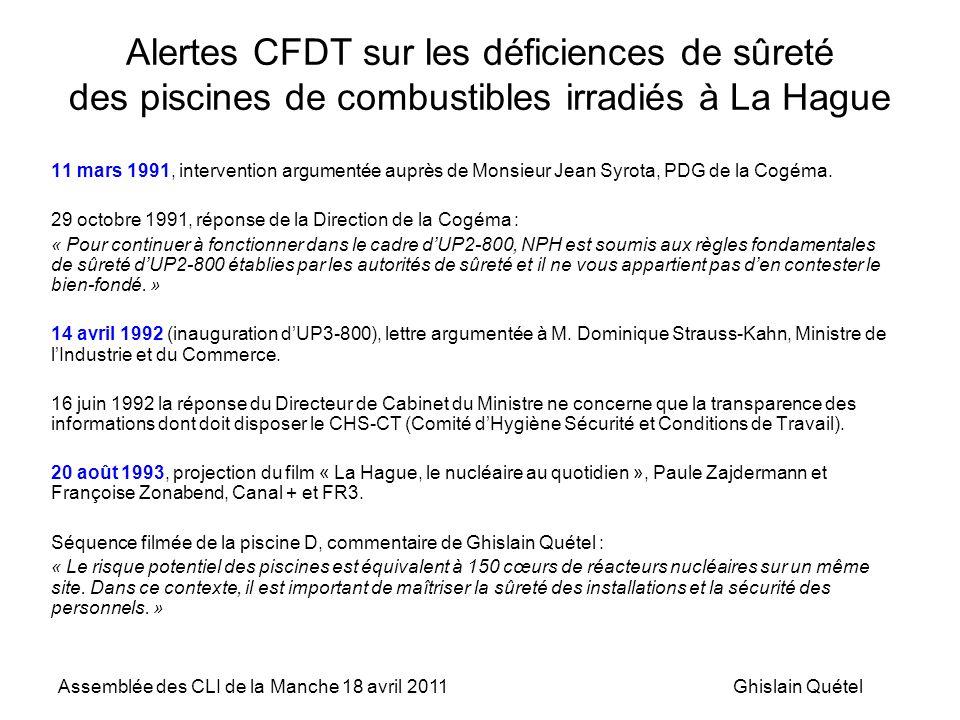 Alertes CFDT sur les déficiences de sûreté des piscines de combustibles irradiés à La Hague