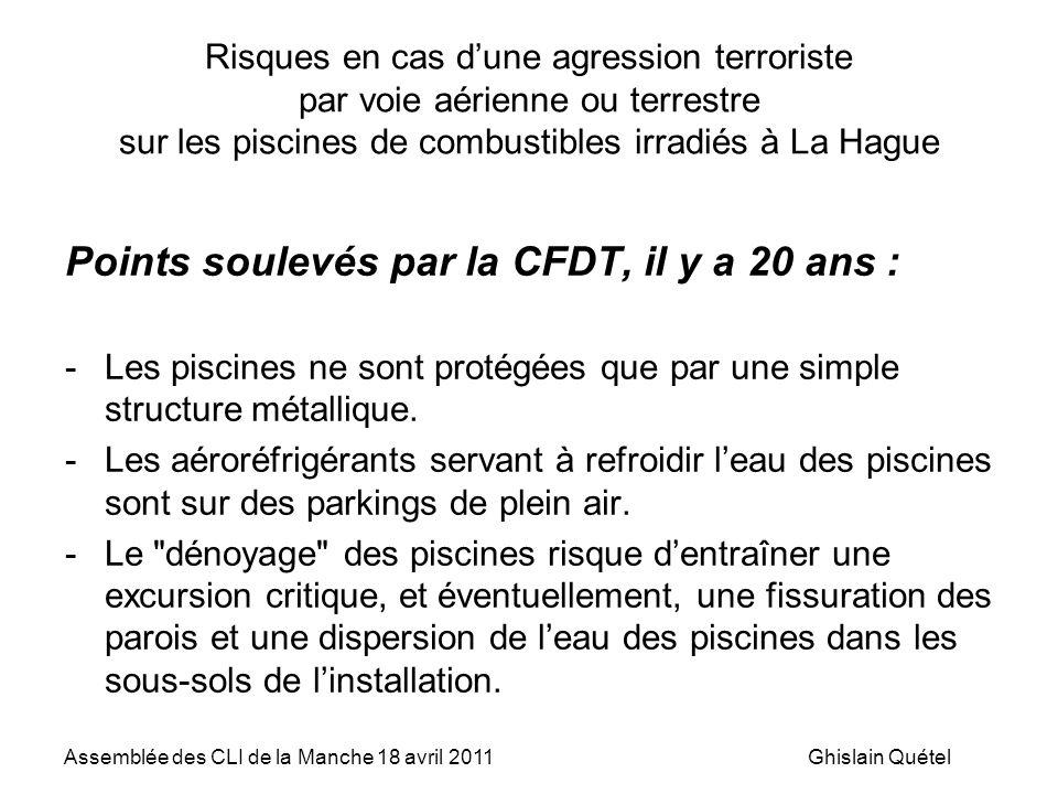 Points soulevés par la CFDT, il y a 20 ans :