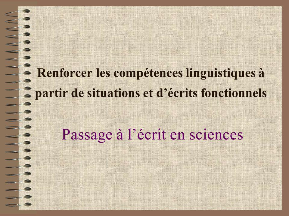 Passage à l'écrit en sciences