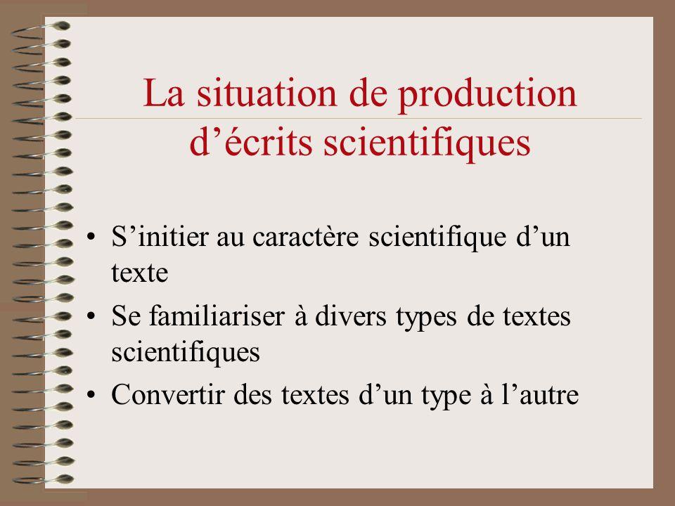 La situation de production d'écrits scientifiques