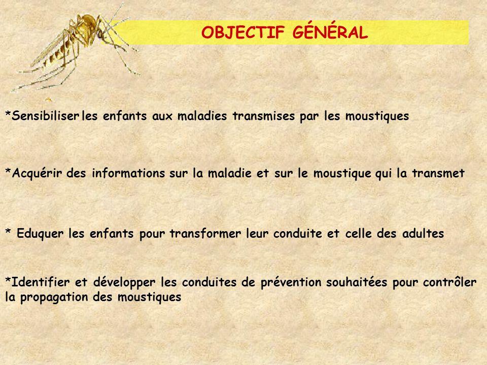 OBJECTIF GÉNÉRAL Sensibiliser les enfants aux maladies transmises par les moustiques.