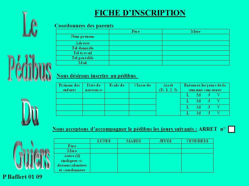 Le Pédibus Du Guiers FICHE D'INSCRIPTION P Baffert 01 09