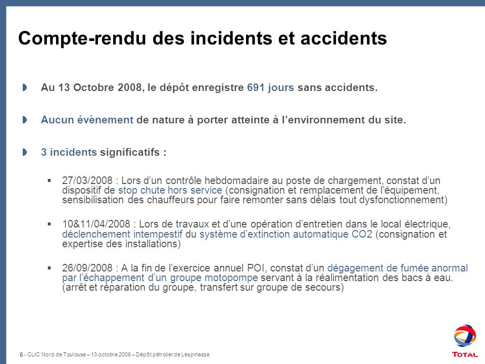 Compte-rendu des incidents et accidents