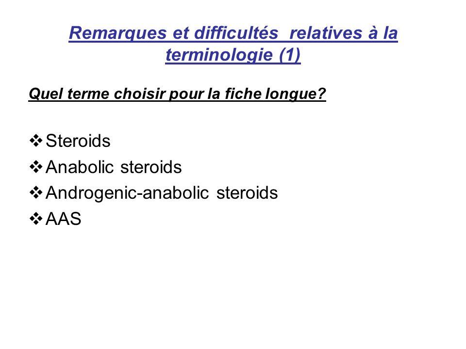 Remarques et difficultés relatives à la terminologie (1)