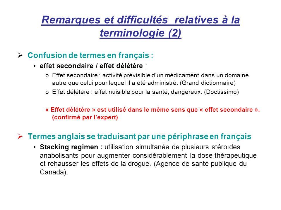 Remarques et difficultés relatives à la terminologie (2)