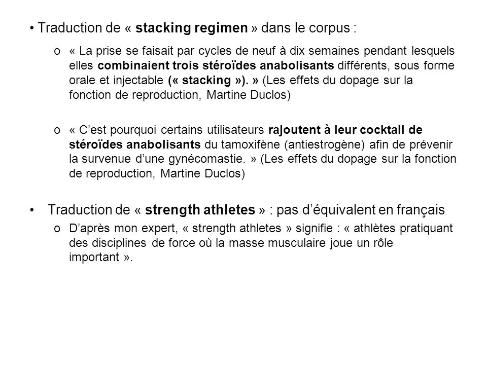 Traduction de « stacking regimen » dans le corpus :