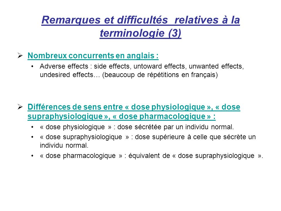 Remarques et difficultés relatives à la terminologie (3)