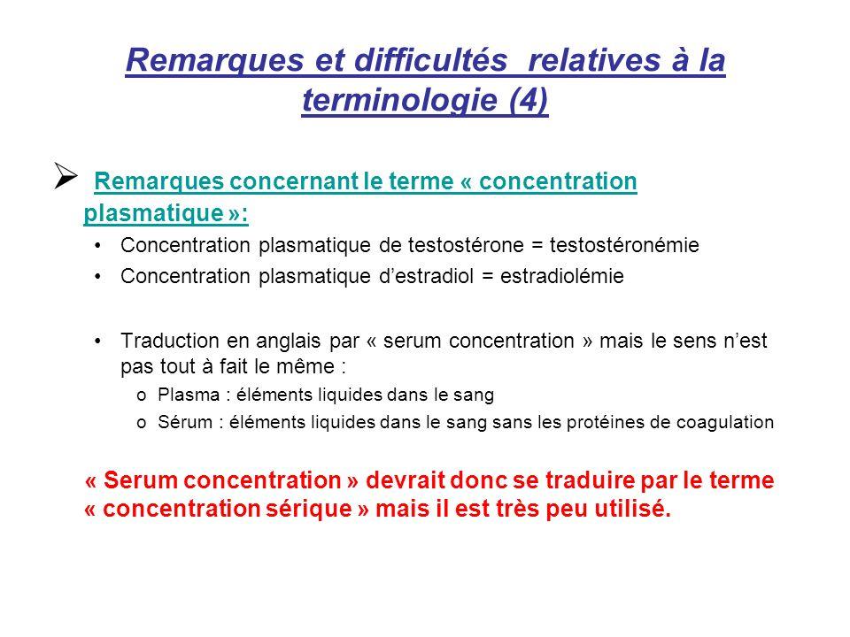 Remarques et difficultés relatives à la terminologie (4)