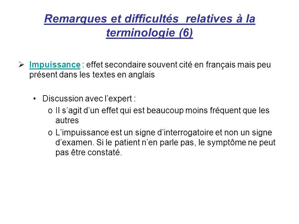 Remarques et difficultés relatives à la terminologie (6)