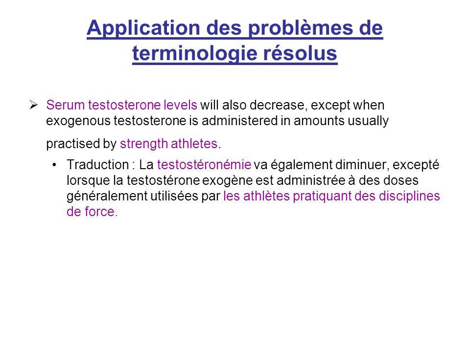 Application des problèmes de terminologie résolus