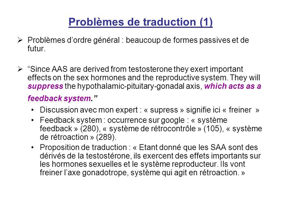 Problèmes de traduction (1)