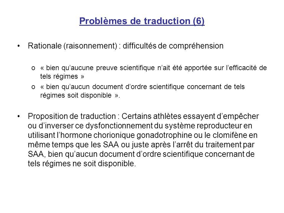 Problèmes de traduction (6)