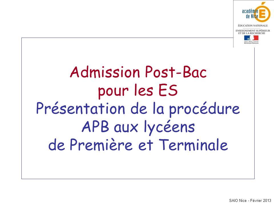 Admission Post-Bac pour les ES Présentation de la procédure APB aux lycéens de Première et Terminale