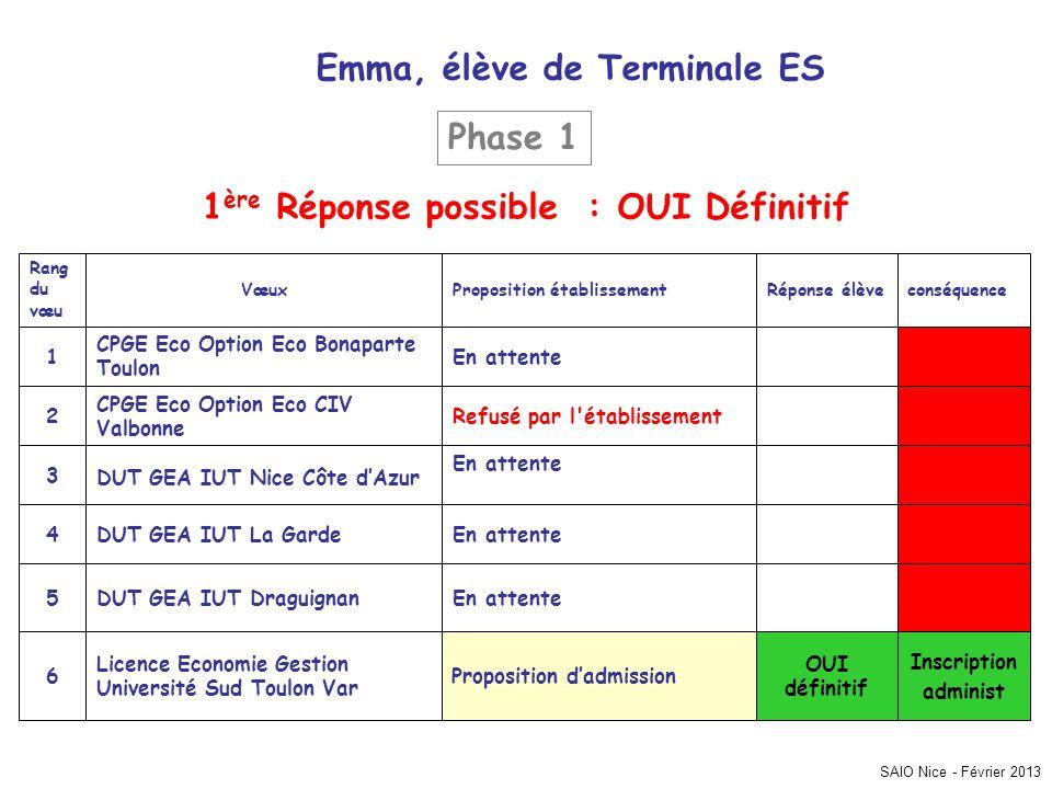 Emma, élève de Terminale ES 1ère Réponse possible : OUI Définitif