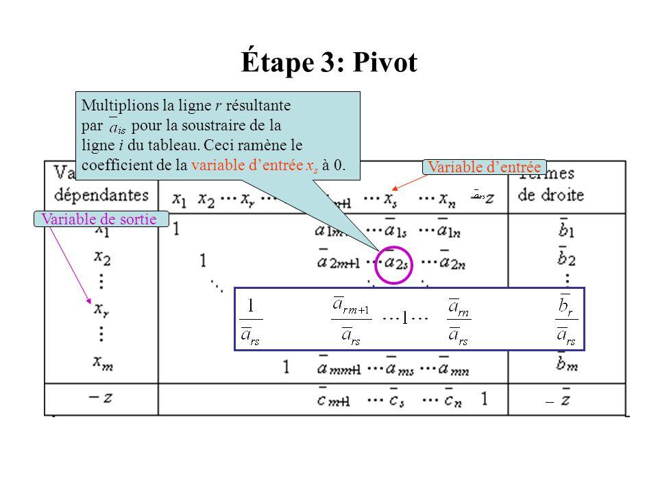 Étape 3: Pivot Multiplions la ligne r résultante