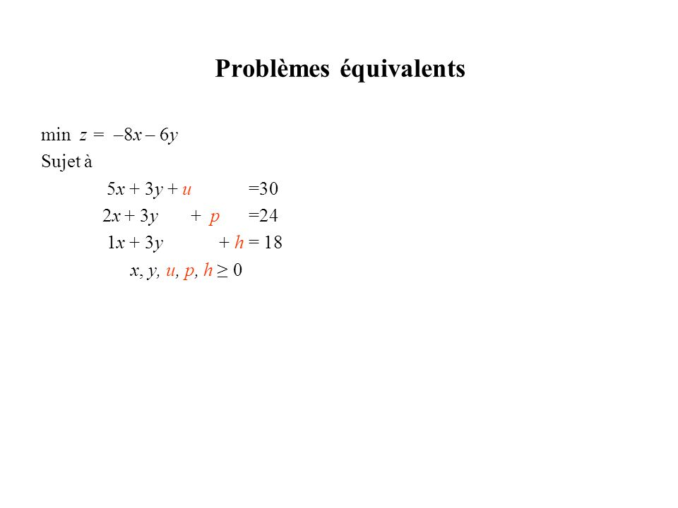 Problèmes équivalents