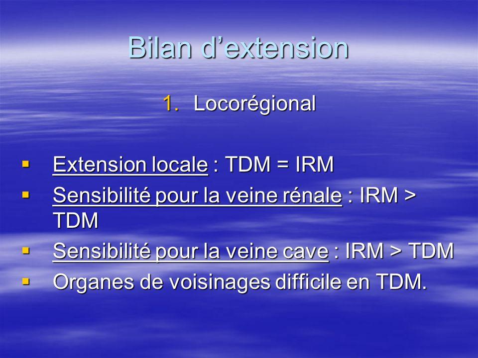 Bilan d'extension Locorégional Extension locale : TDM = IRM