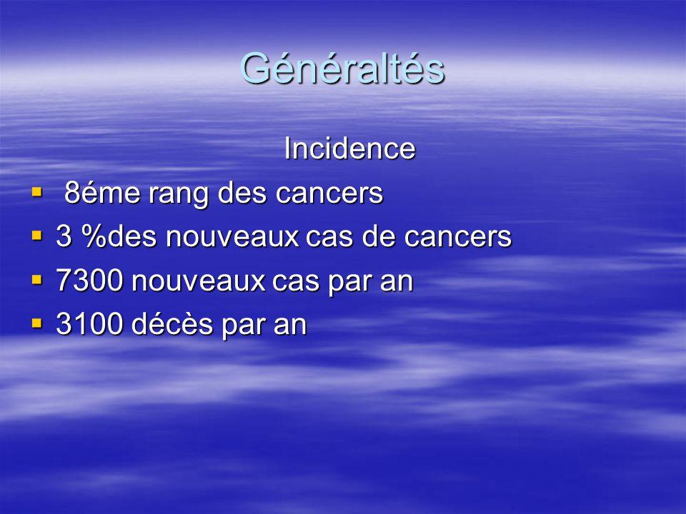 Généraltés Incidence 8éme rang des cancers