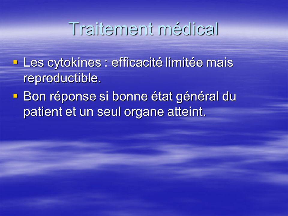 Traitement médical Les cytokines : efficacité limitée mais reproductible.