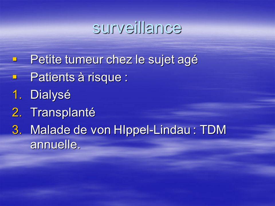 surveillance Petite tumeur chez le sujet agé Patients à risque :