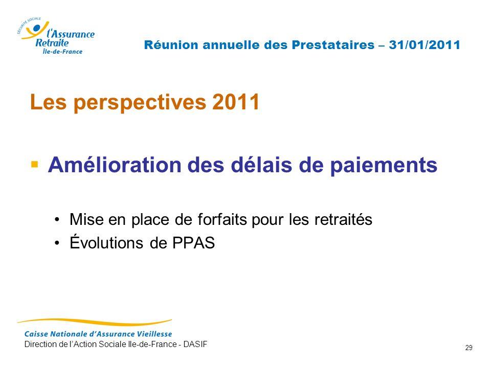 Réunion annuelle des Prestataires – 31/01/2011