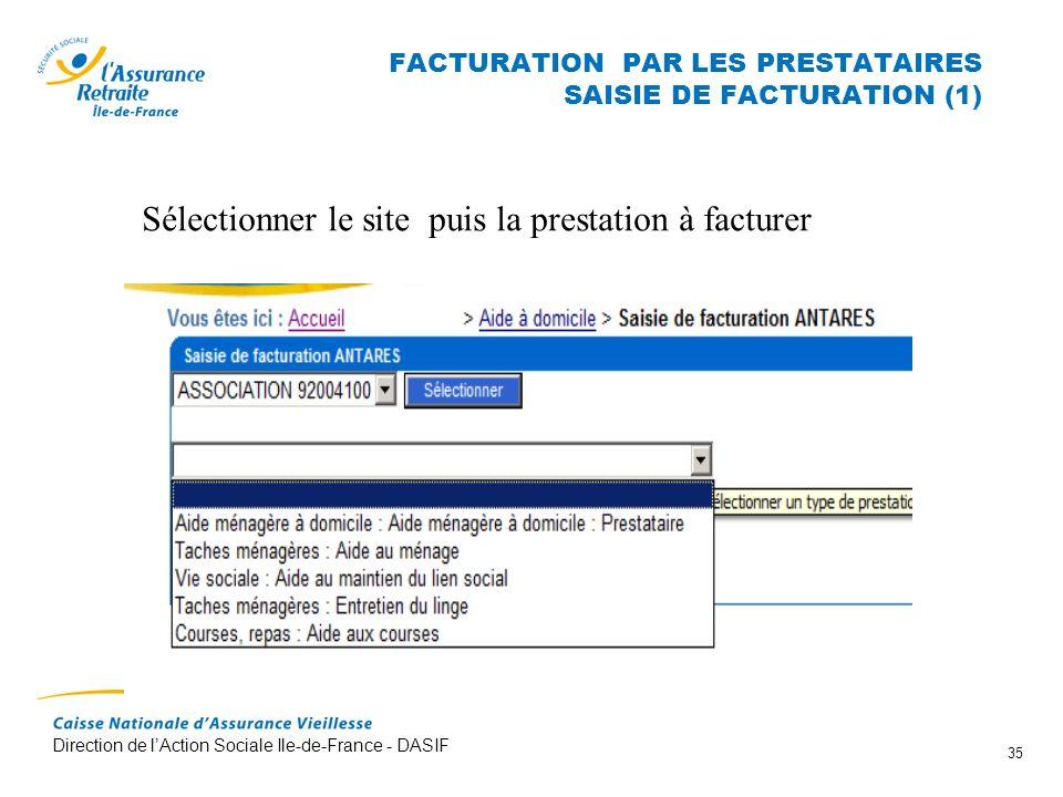 FACTURATION PAR LES PRESTATAIRES SAISIE DE FACTURATION (1)