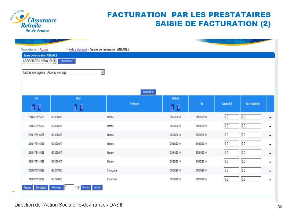 FACTURATION PAR LES PRESTATAIRES SAISIE DE FACTURATION (2)