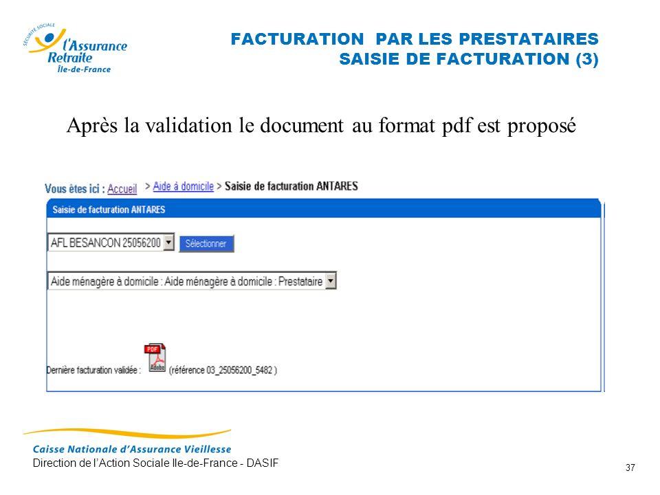 FACTURATION PAR LES PRESTATAIRES SAISIE DE FACTURATION (3)