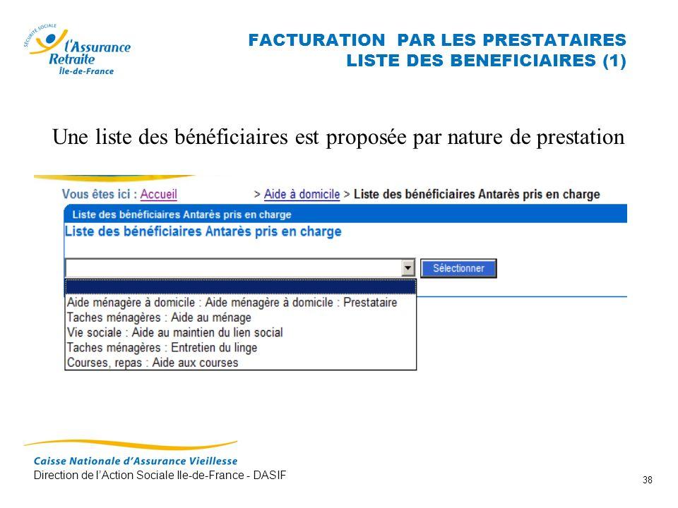 FACTURATION PAR LES PRESTATAIRES LISTE DES BENEFICIAIRES (1)