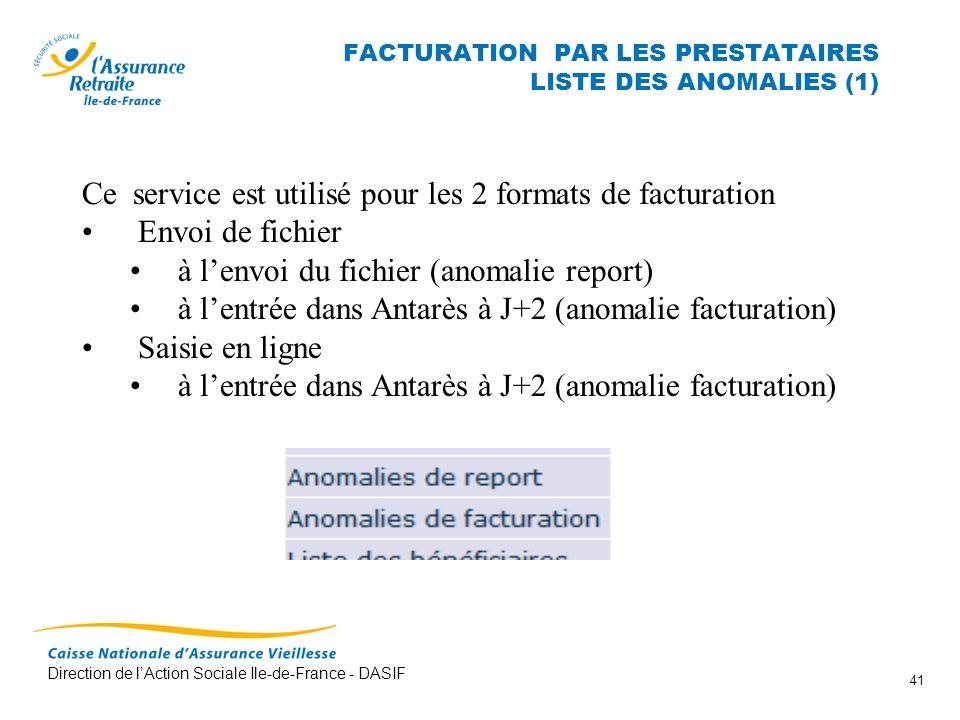 FACTURATION PAR LES PRESTATAIRES LISTE DES ANOMALIES (1)