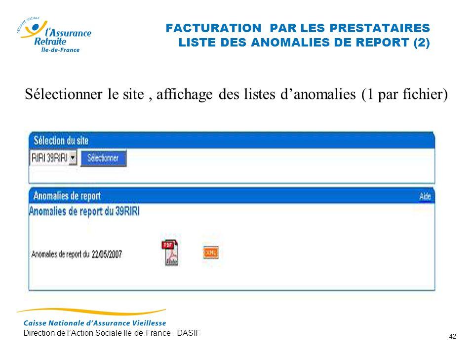 FACTURATION PAR LES PRESTATAIRES LISTE DES ANOMALIES DE REPORT (2)