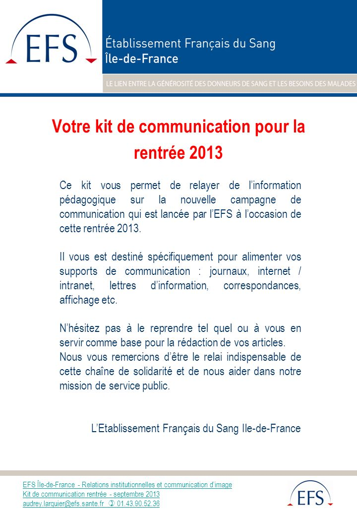 Votre kit de communication pour la rentrée 2013