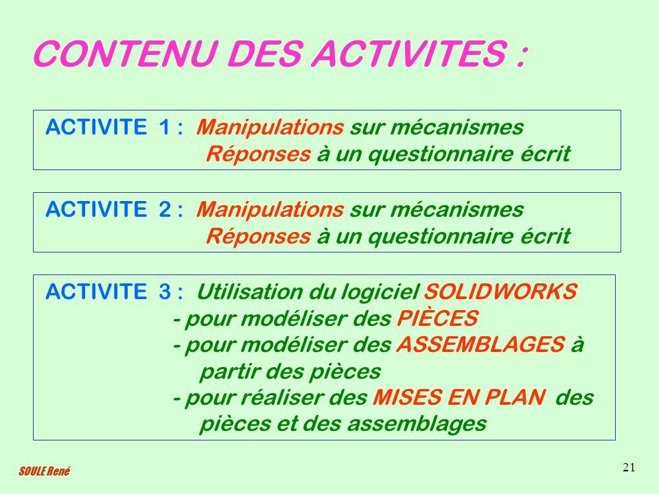 CONTENU DES ACTIVITES :