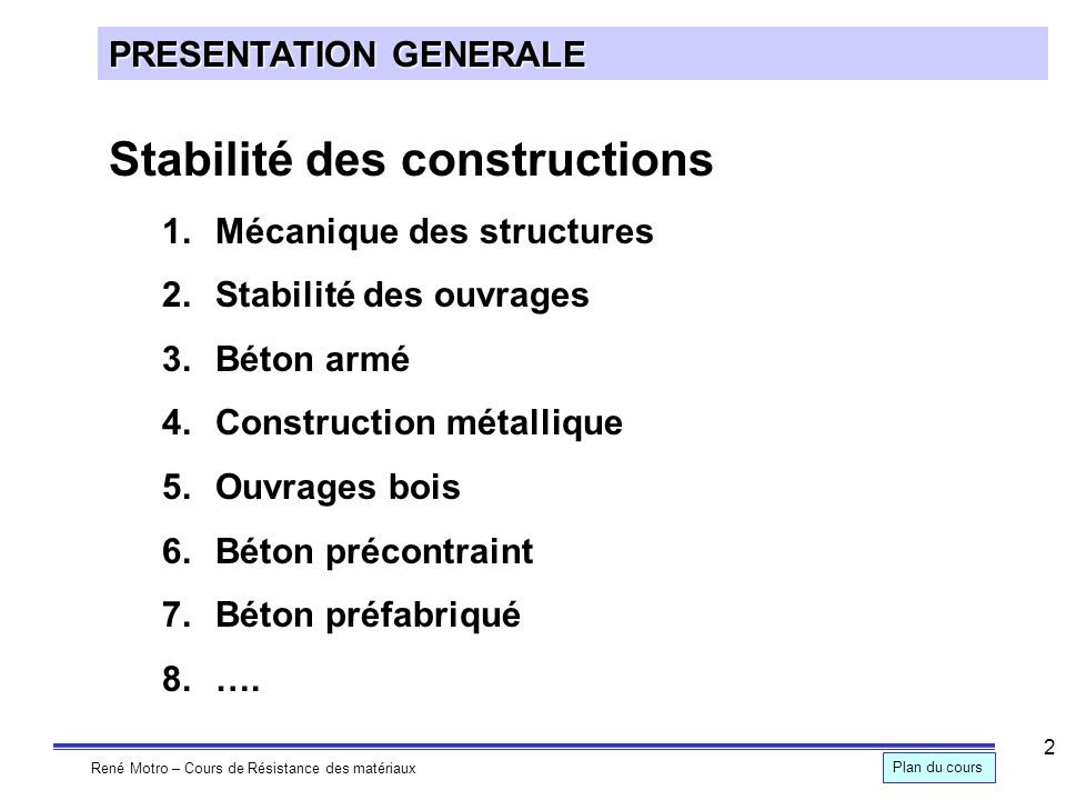 Stabilité des constructions