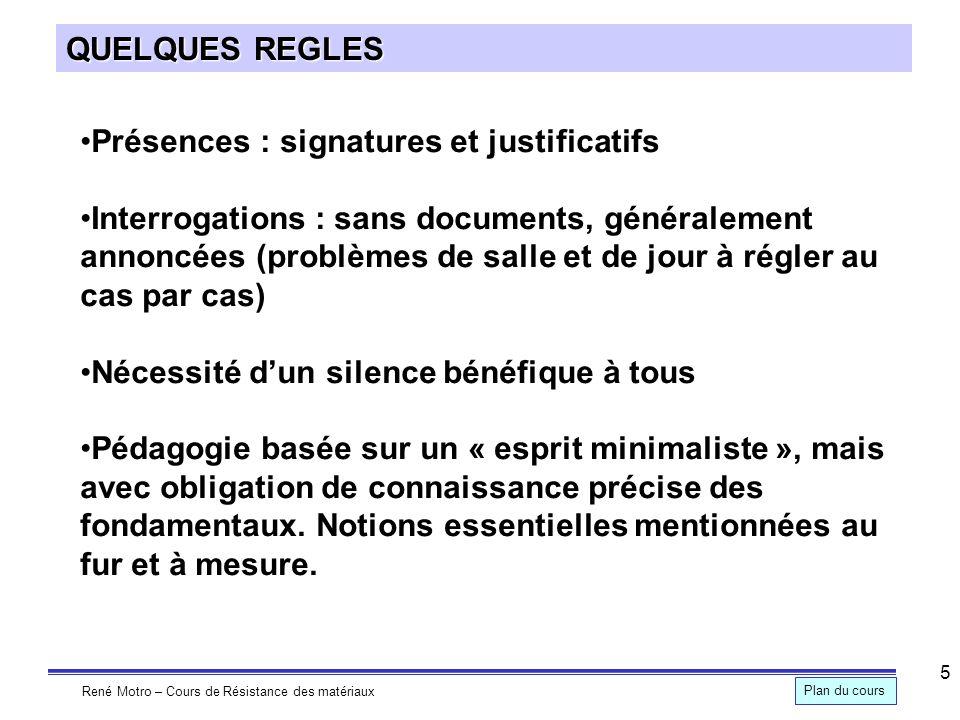 QUELQUES REGLES Présences : signatures et justificatifs.