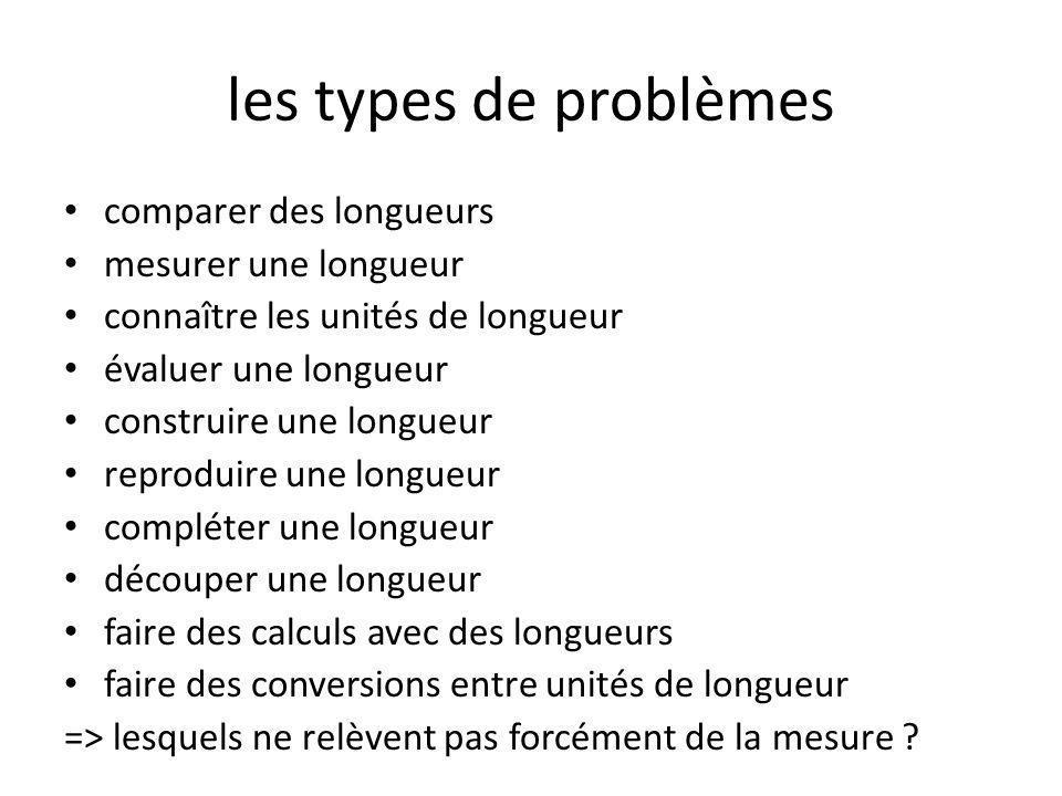 les types de problèmes comparer des longueurs mesurer une longueur