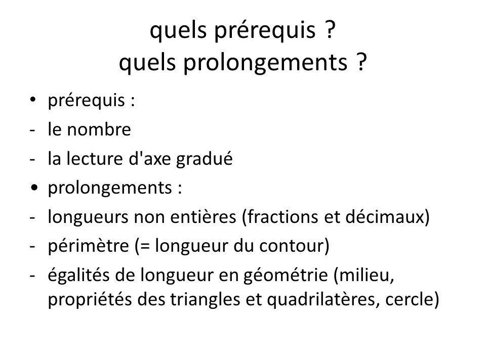 quels prérequis quels prolongements