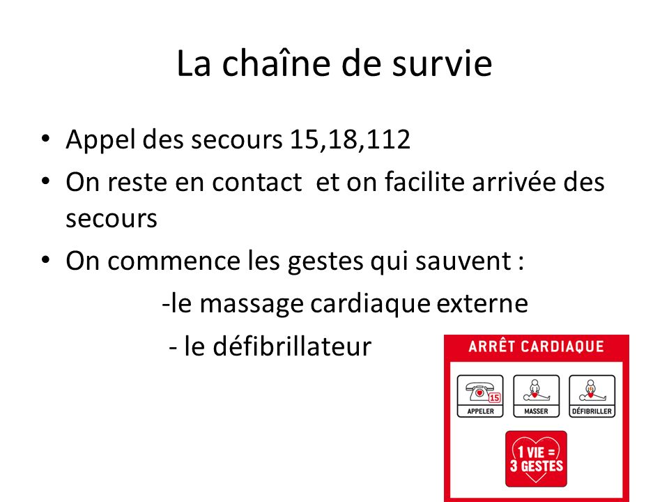 La chaîne de survie Appel des secours 15,18,112