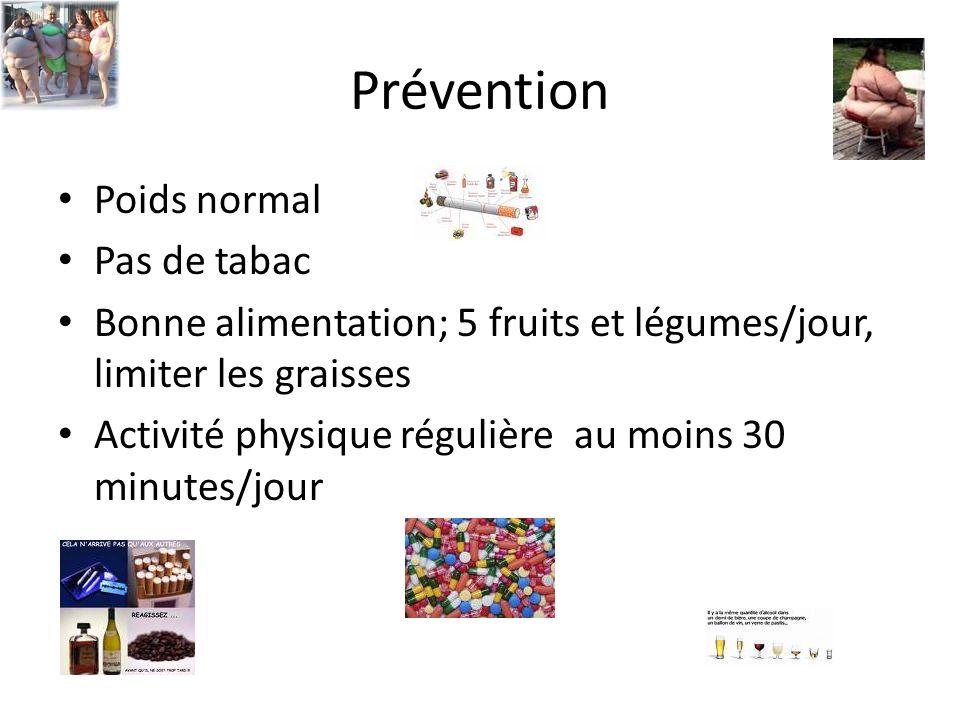 Prévention Poids normal Pas de tabac