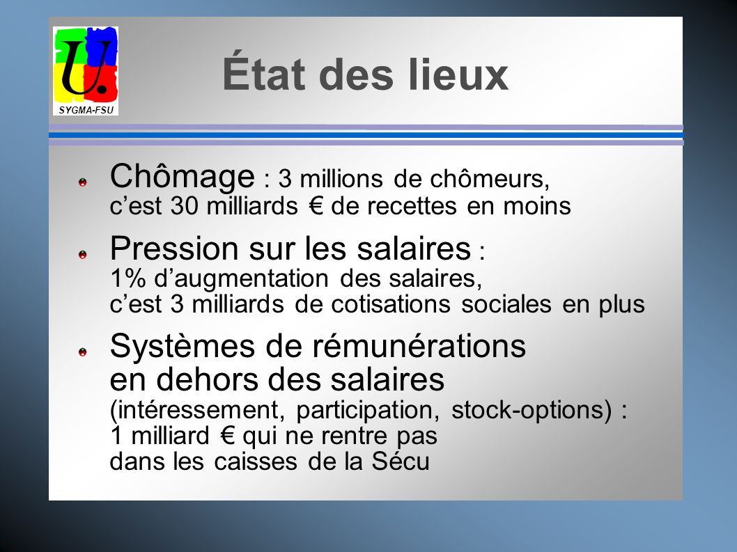 SYGMA-FSUÉtat des lieux. Chômage : 3 millions de chômeurs, c'est 30 milliards € de recettes en moins.