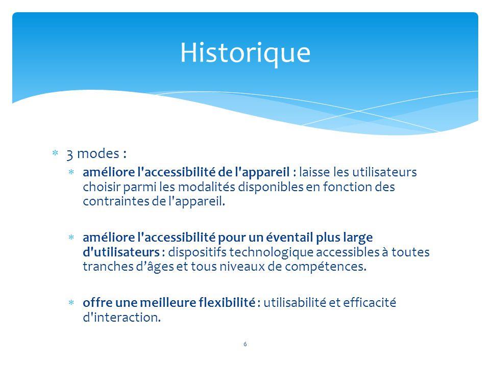 Historique 3 modes :