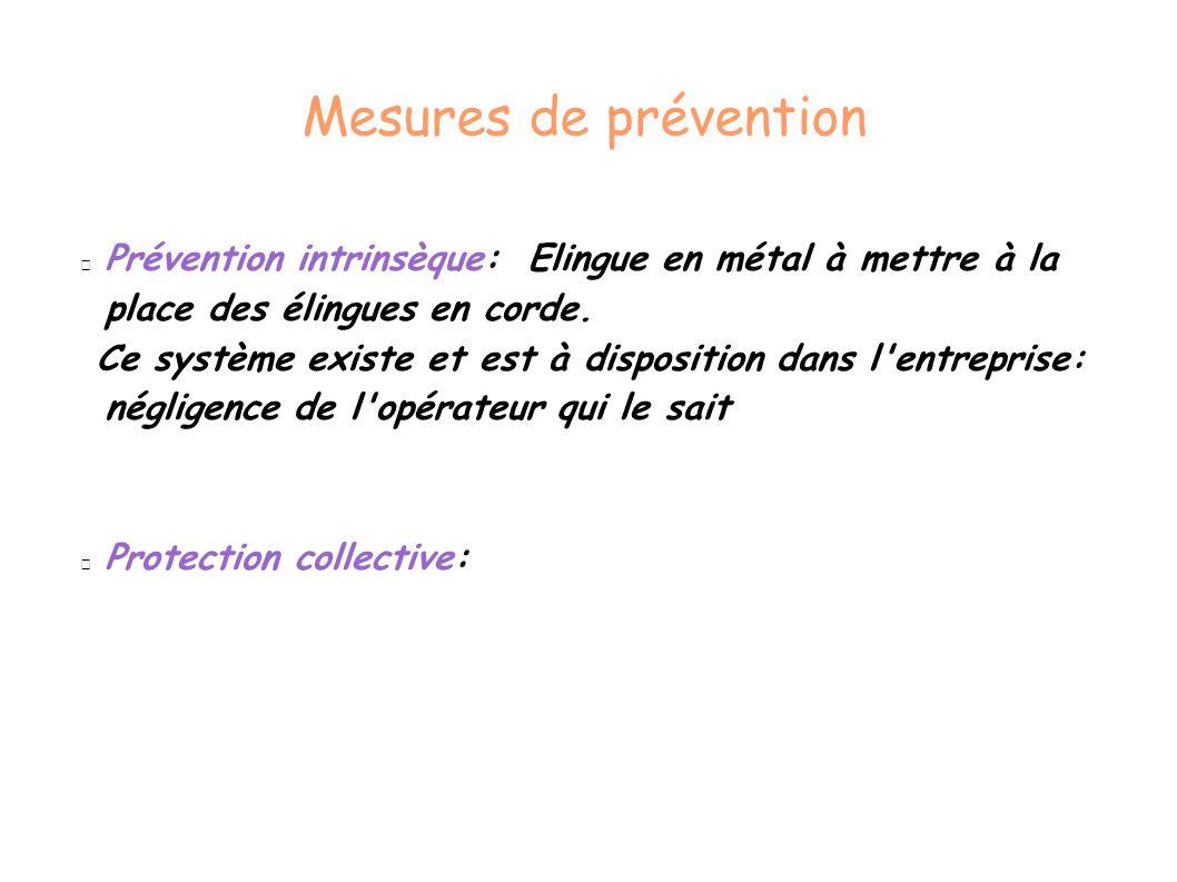 Mesures de prévention Prévention intrinsèque: Elingue en métal à mettre à la place des élingues en corde.