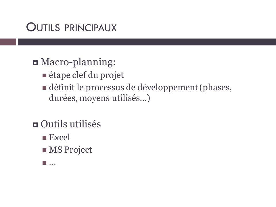Outils principaux Macro-planning: Outils utilisés étape clef du projet