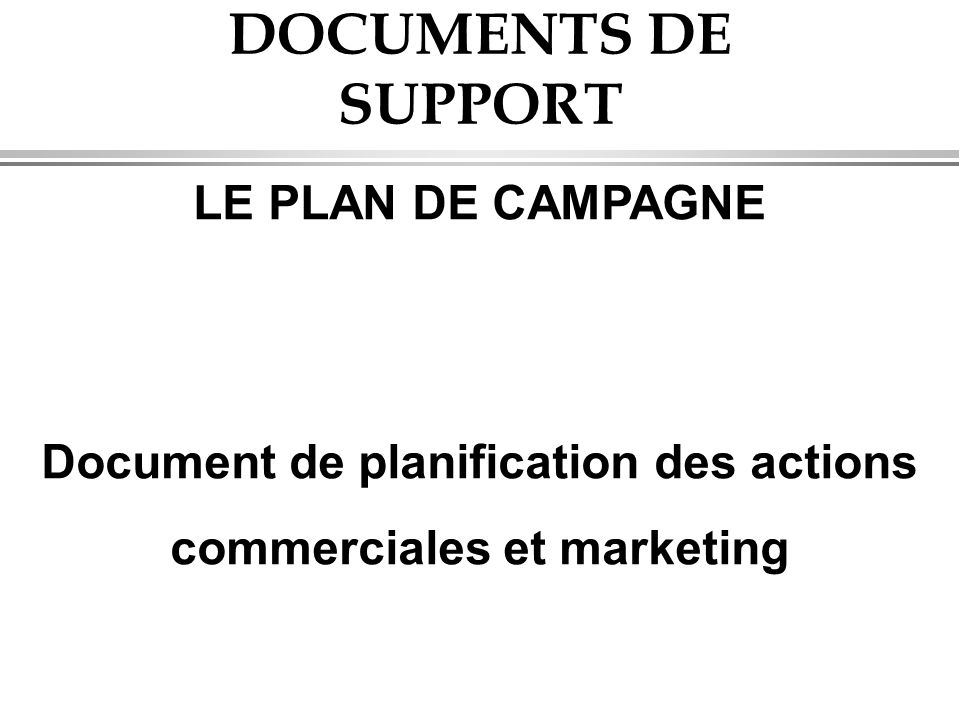 Document de planification des actions commerciales et marketing